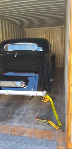 Jaguar Mk IV safely in a container for shipment